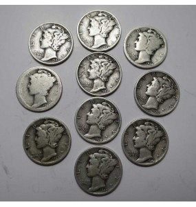 Mercury Dime - Avg Circulation -Mixed Dates - $5.FV