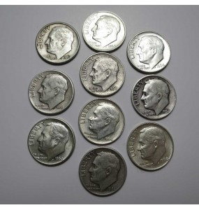 90% Roosevelt Dime - Mixed Dates - $5.FV